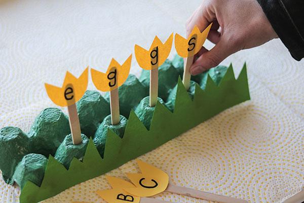 Word Garden Egg Carton Craft